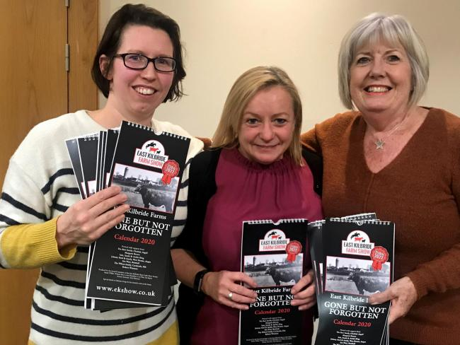 Lorna Hamilton, Una Watt and Winnie Kerr part of the East Kilbride Show social committee show off their 2020 calendar, entitled, East Kilbride farms, gone but not forgotten, featuring the 'Old farms of Scotland's first new town', the calendar