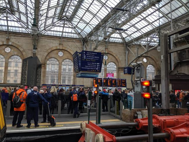 Passengers on services between Glasgow and East Kilbride face delays due to a train on the tracks