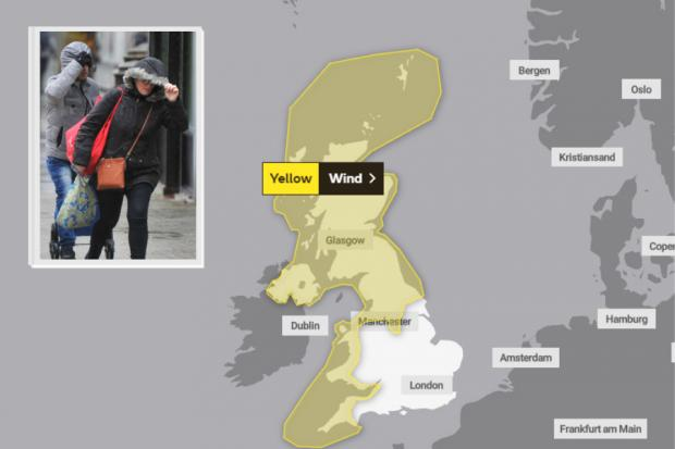 The yellow weather warning is in place from 10am-11am