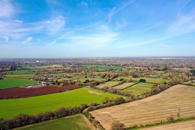An aerial view of farm fields near Wokingham in Berkshire