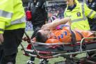 Rangers Jamie Murphy is stretchered off the pitch with an injury during the Betfed Cup Second Round match at Rugby Park, Kilmarnock. PRESS ASSOCIATION Photo. Picture date: Sunday August 19, 2018. See PA story SOCCER Kilmarnock. Photo credit should read: J
