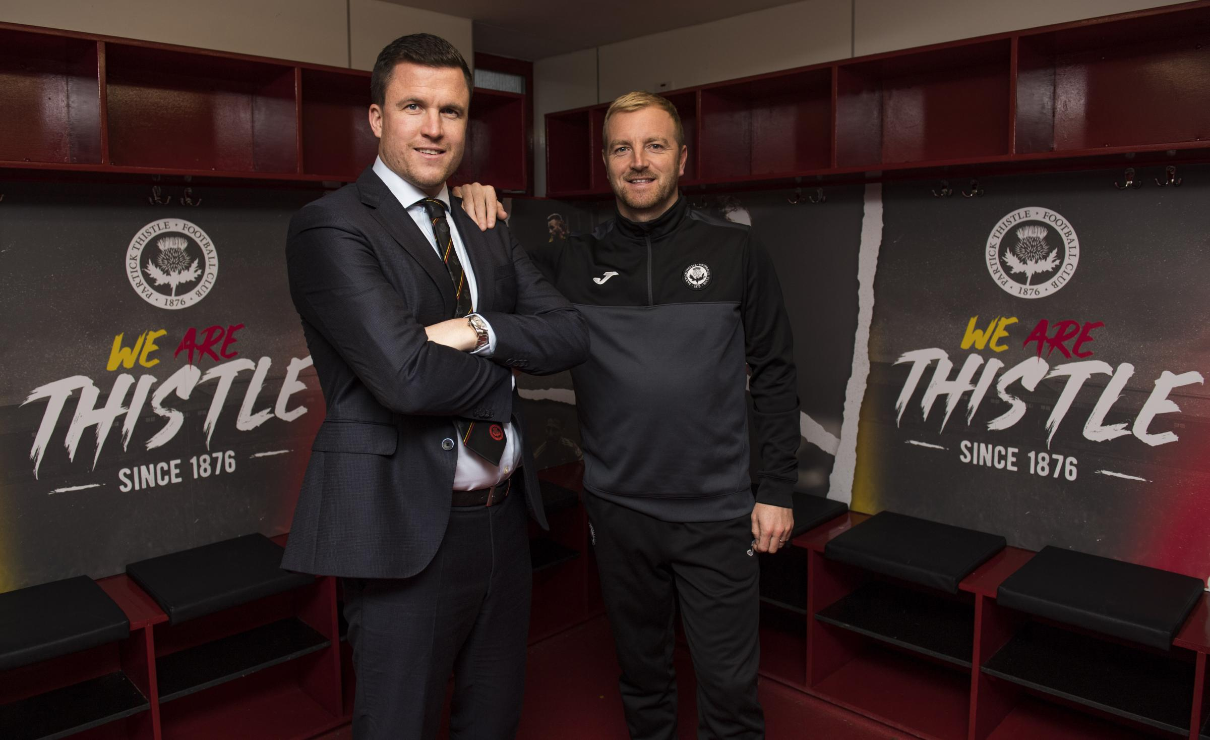 16/10/18.THE ENERGY CHECK STADIUM AT FIRHILL - GLASGOW.Partick Thistle manager Gary Caldwell (L) alongside assistant manager Brian Kerr..