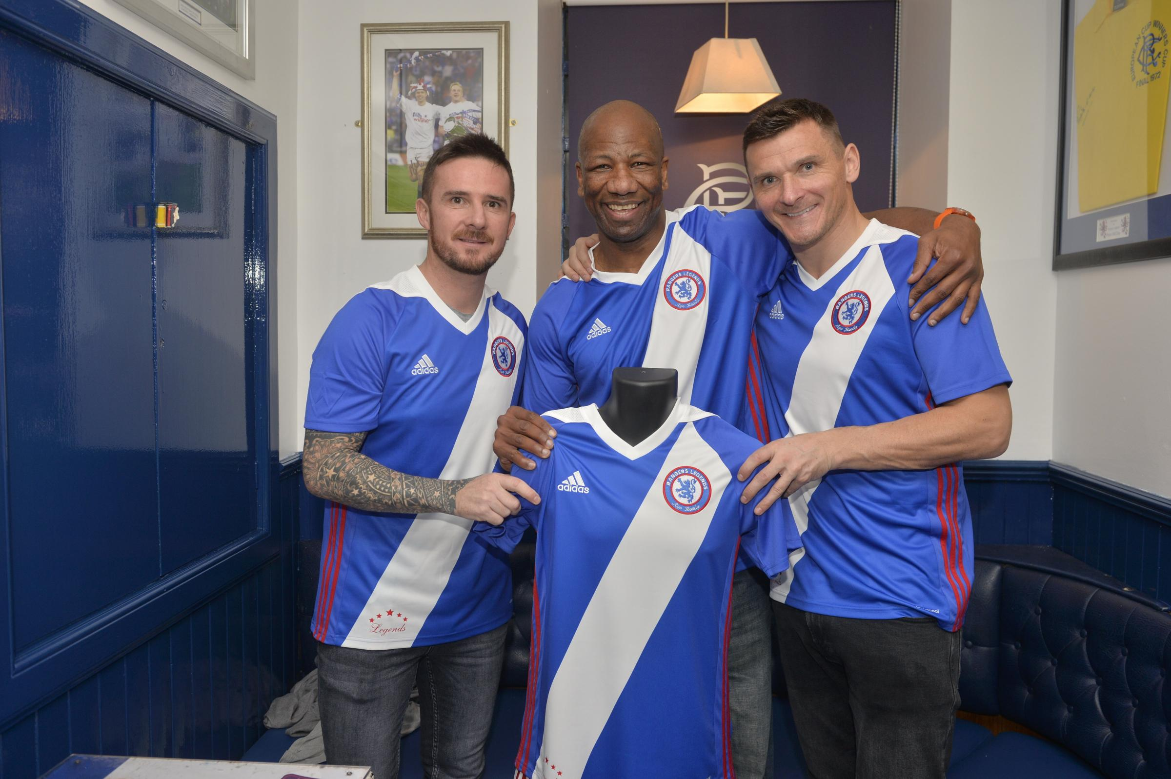 Lee McCulloch and former players launch a legends strip...Lee McCulloch and former players launched a legends strip at the Stonefield Tavern in Blantyre ..Picture shows L-R Barry Ferguson, Marvin Andrews and Lee McCulloch with the new strip...Kirsty Ander