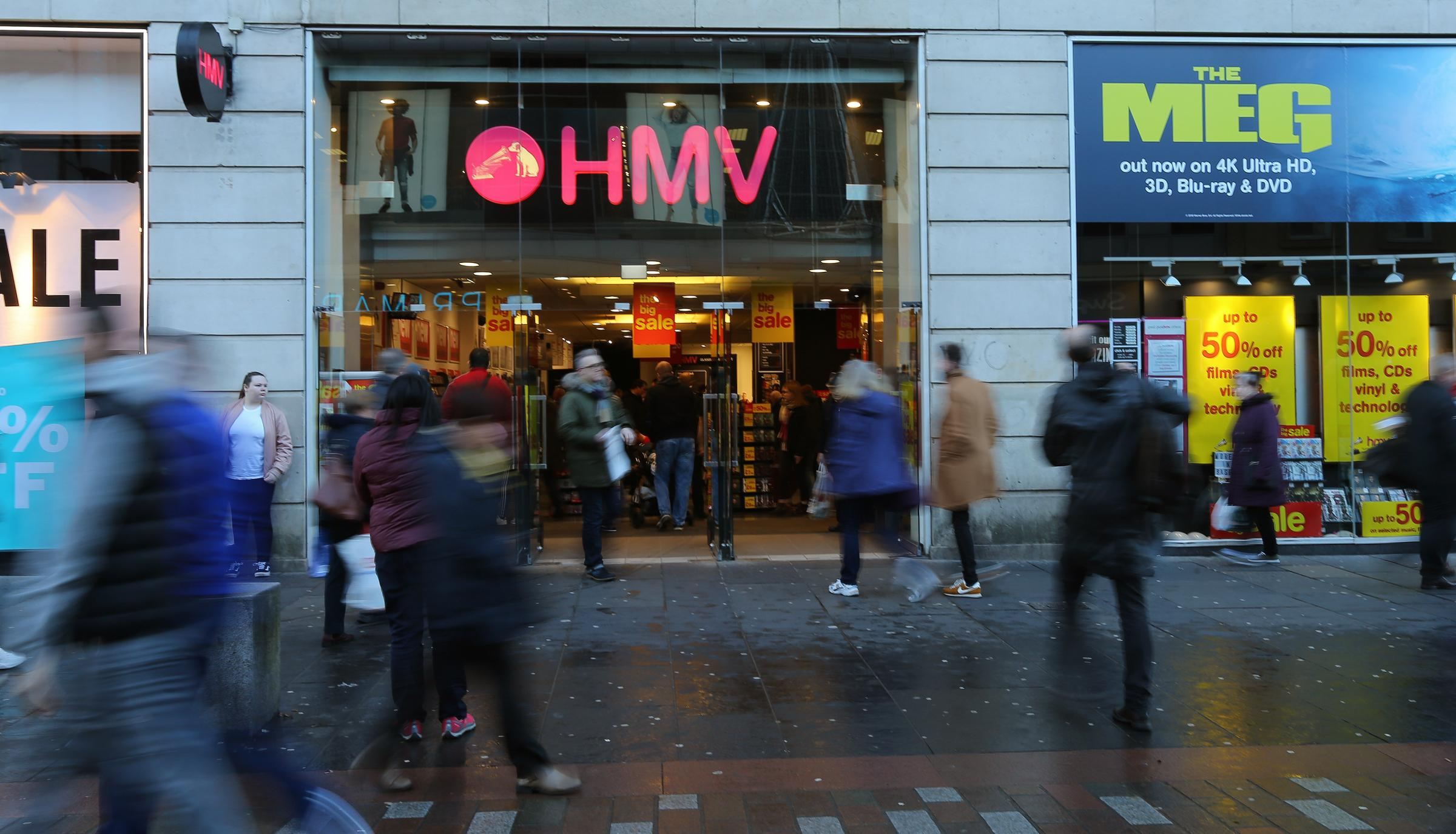 The HMV store on Argyle street, Glasgow. HMV has announced that is has called in administrators putting 2,200 jobs at risk.   Photograph by Colin Mearns28 December 2018
